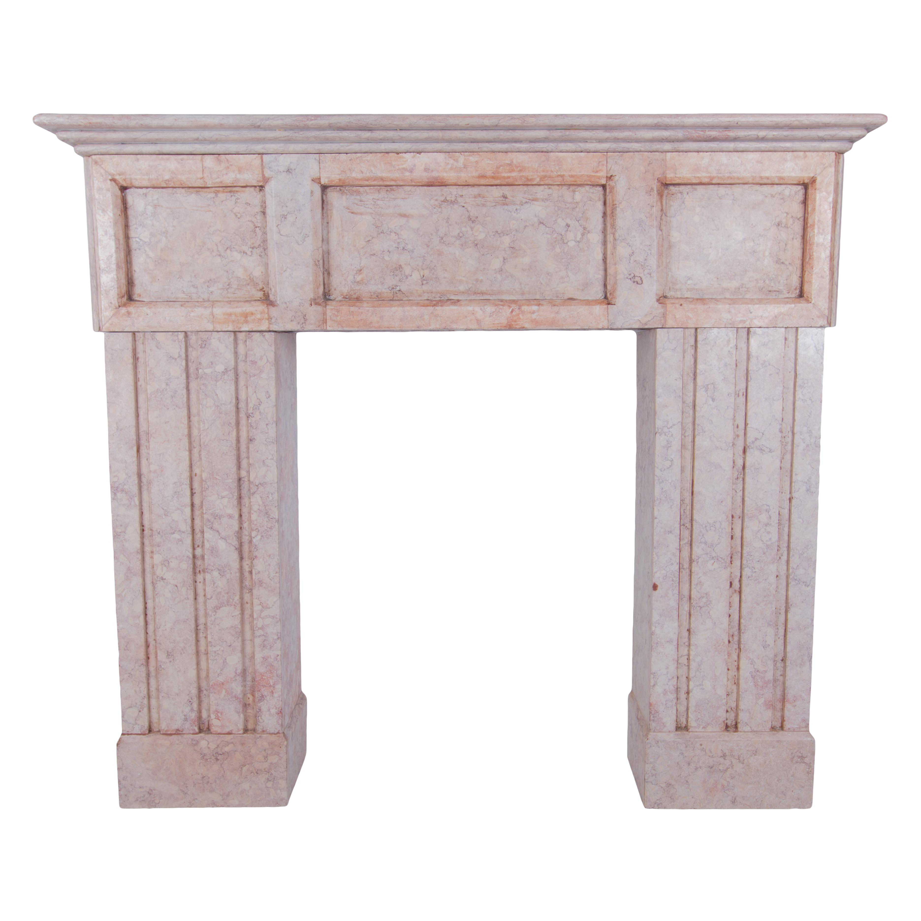 Pink Marble Fireplace Mantel.