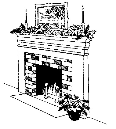 Holiday Fireplace Clipart.