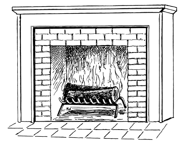 Clip Art Black And White Fireplace Clipart.