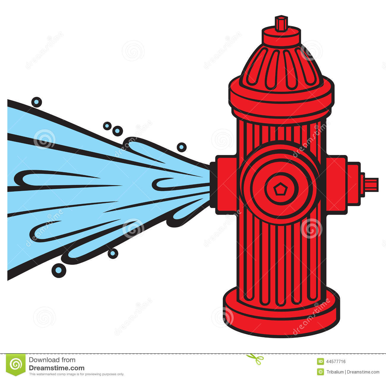 Open Fire Hydrant Stock Vector.