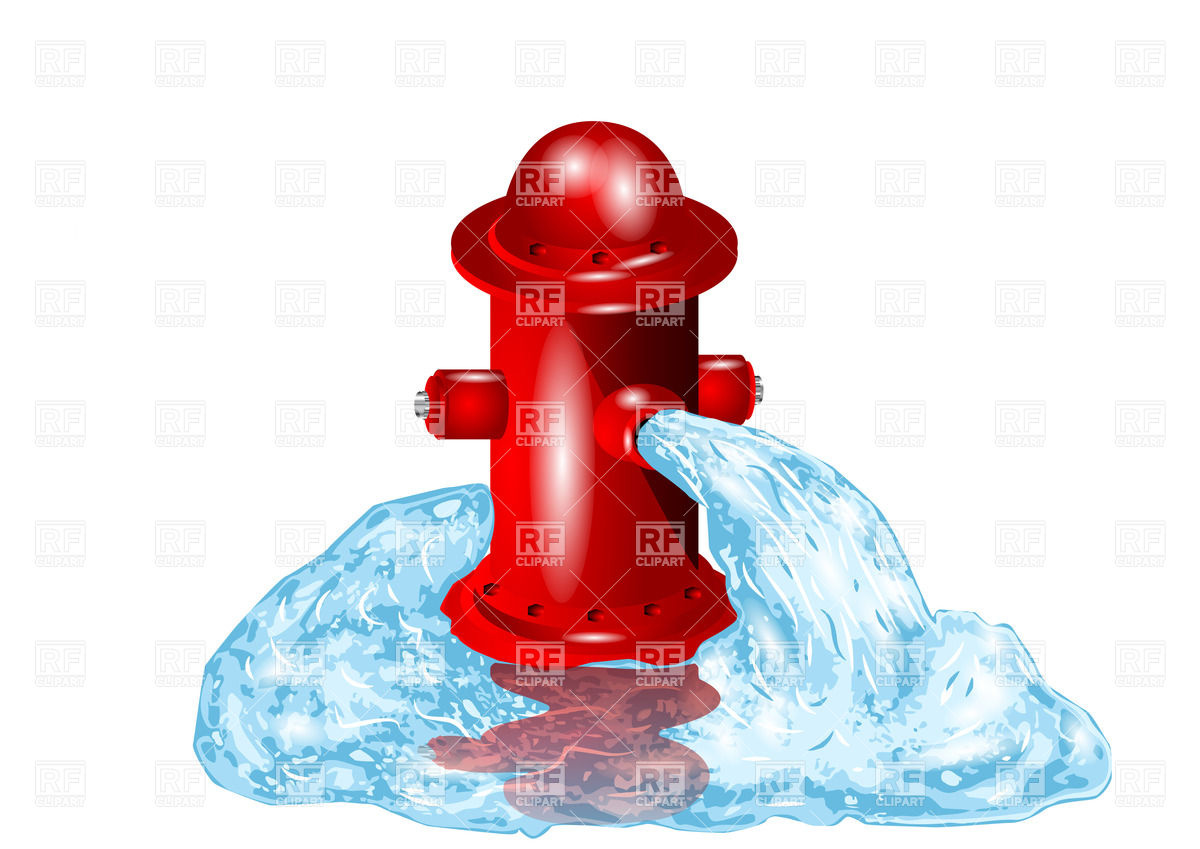 Open fire hydrant with flowing out water Vector Image #27367.