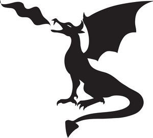 dragon clipart black and white for kids #12