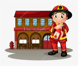 Fire Station Clipart Burning Building A Fireman In.
