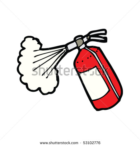 Fire extinguisher spraying clipart.