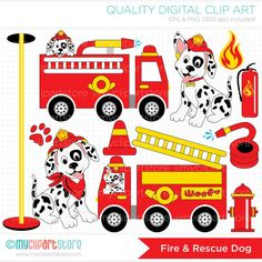 Fire truck water clipart birthday.