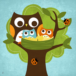 Owl Family Nest Canvas Reproduction.