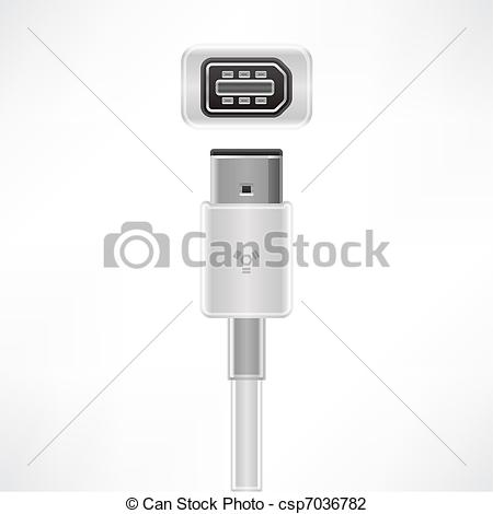 Vector Illustration of Firewire cable.