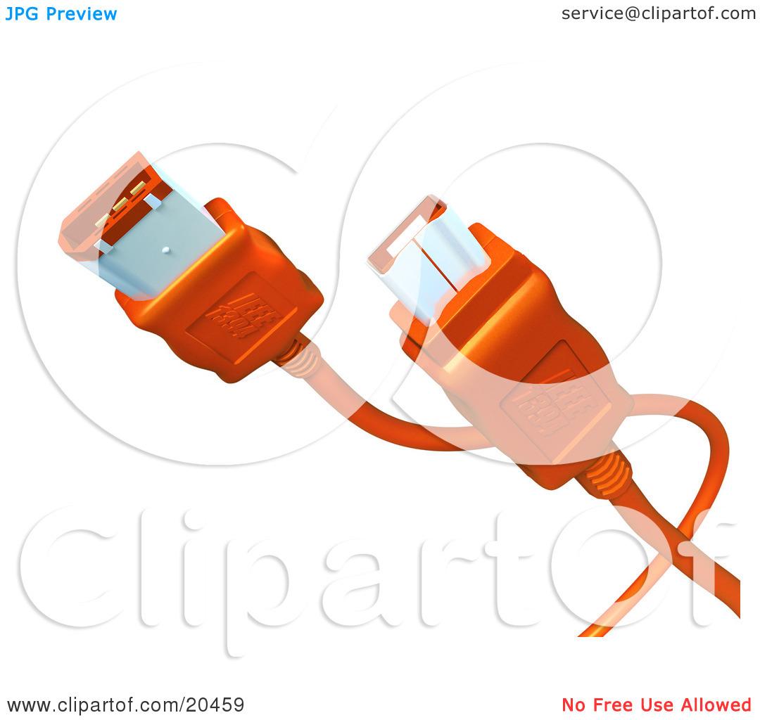 Clipart Illustration of Orange Electronic, Computer Hardware Fire.