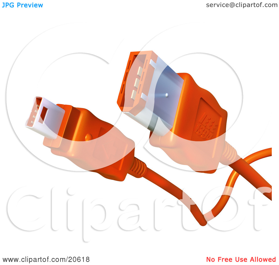 Clipart Illustration of Both Ends Of An Orange Firewire Cable Over.
