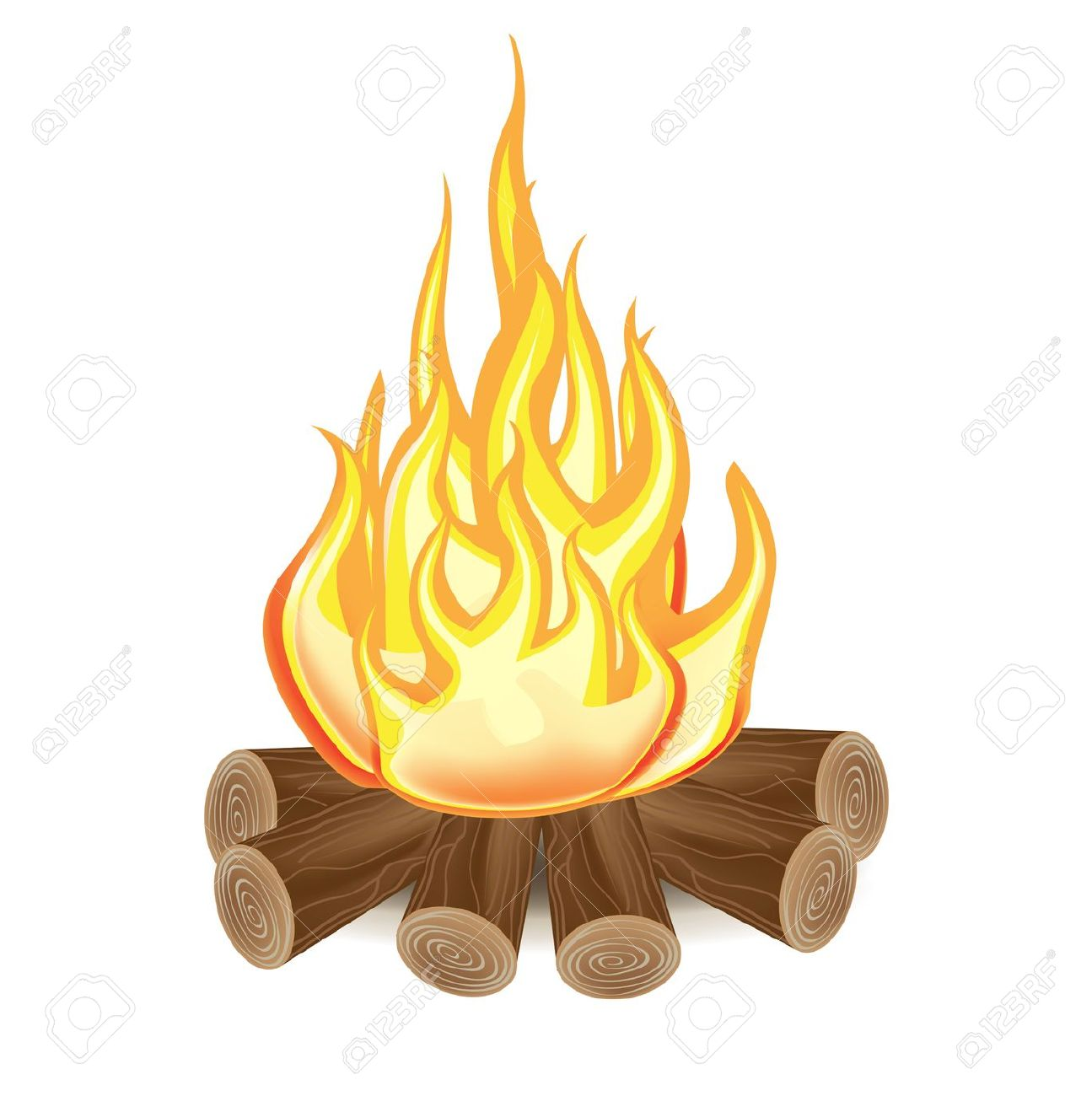 Single Campfire Isolated On White Background Royalty Free Cliparts.