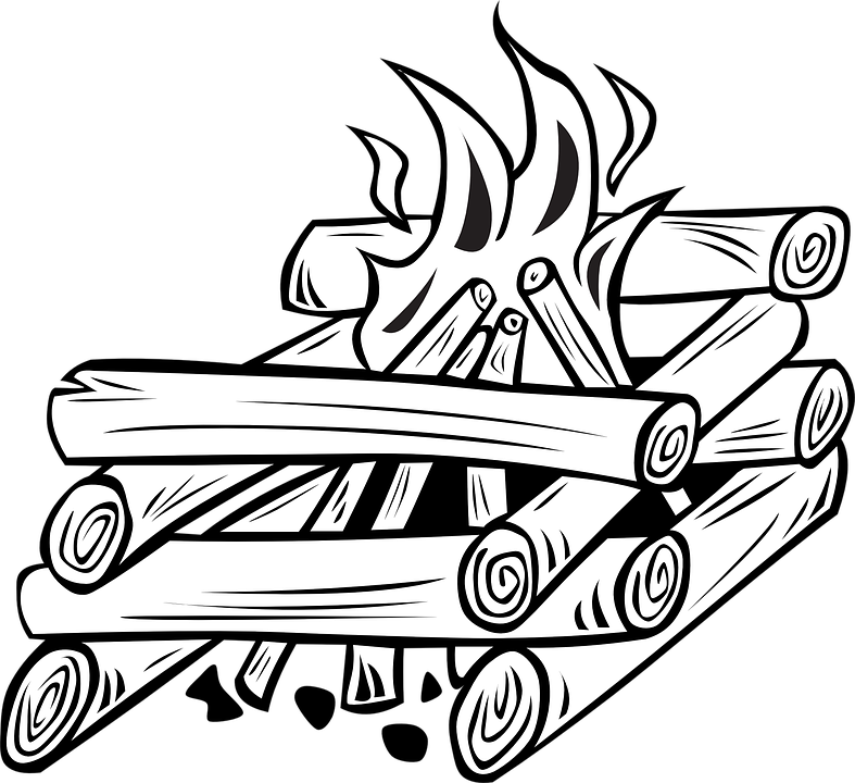Firewood clipart black and white, Firewood black and white.