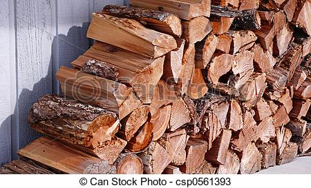 Stock Photos of Stacked Fire Wood.