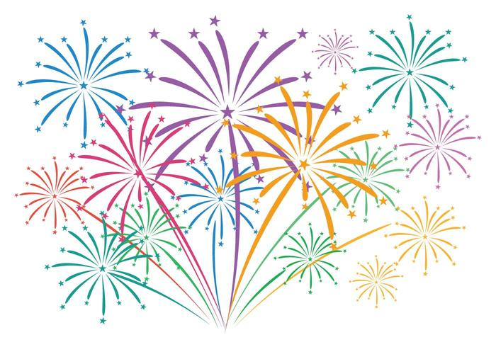 Fireworks with background vector.