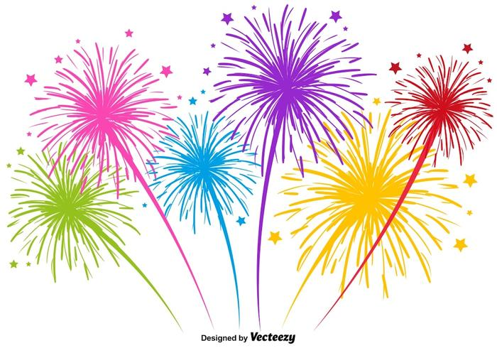 Vector Multicolored Firework Illustration.
