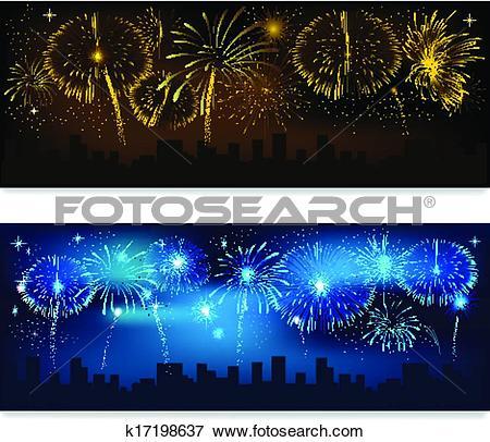 Clip Art of Fireworks banner k17198637.