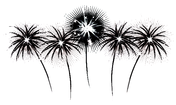 Black And White Fireworks Clipart.