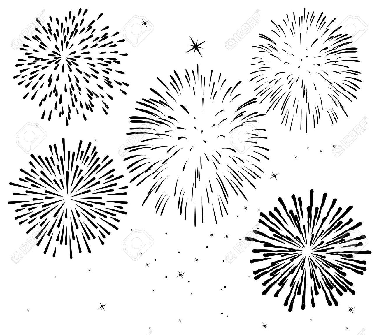 fireworks border black and white clipart #1