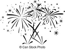 Fireworks Clipart Black And White.