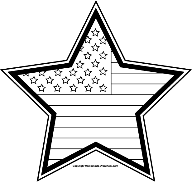 Flag And Fireworks Black And White Clipart Free.