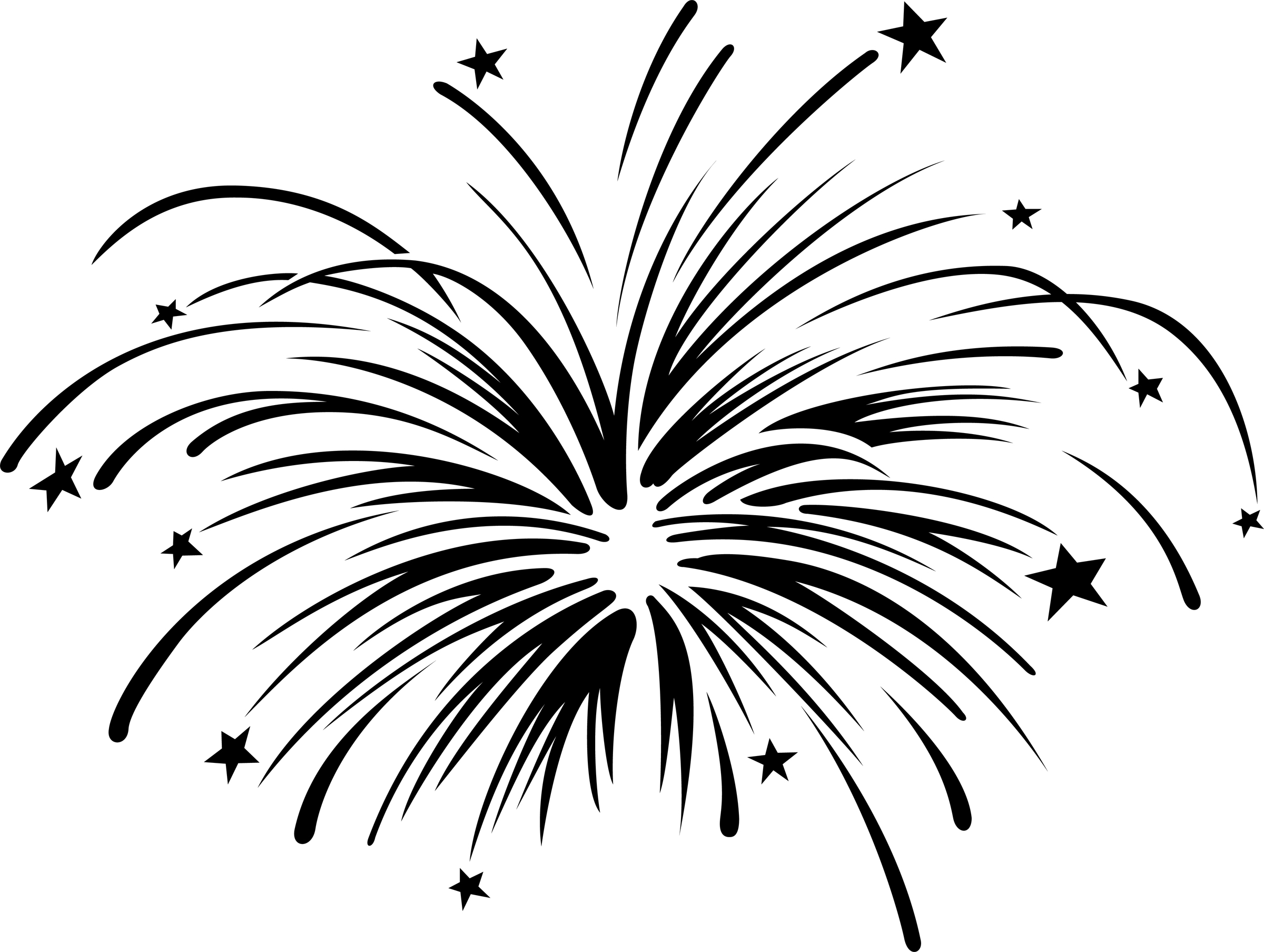 Fireworks Border Black And White Clipart.