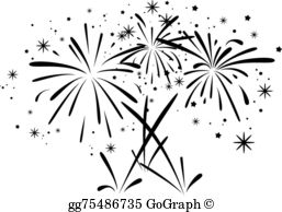 Black And White Fireworks Clip Art.