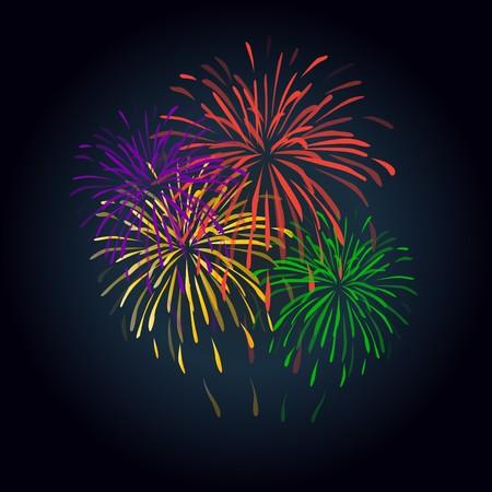 Fireworks colorful shapes on black background. Fireworks.