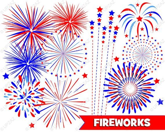 Fireworks Clipart, Independence Day, 4th of July, Digital.