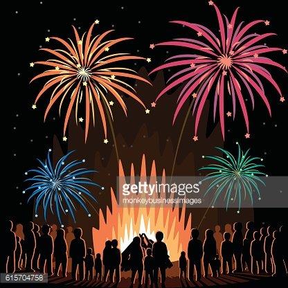Fireworks Display Flyer Vector Illustration Poster Clipart.