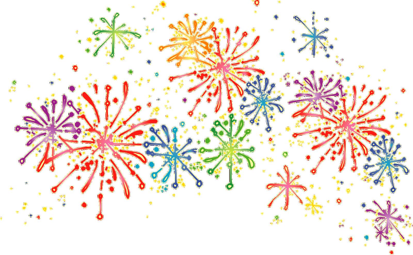 Colorful Fireworks PNG Transparent Clipart Image.