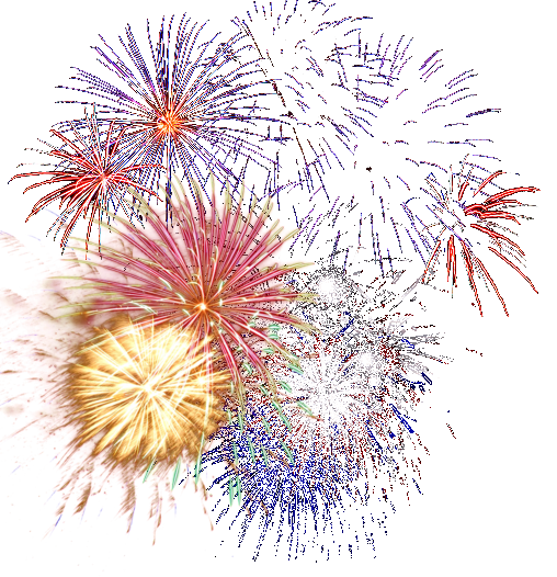Colorful Fireworks PNG Image With Transparent Background.