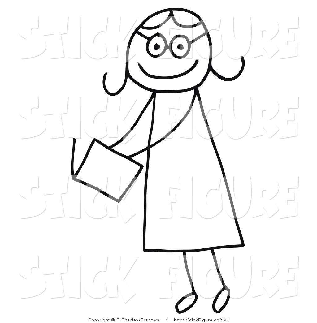 stick person girl clipart #8