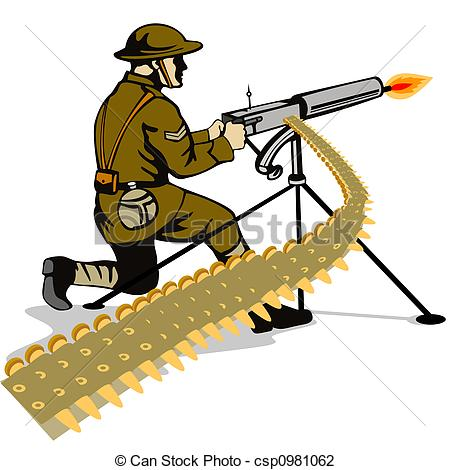 Clip Art of Soldier firing a gun.