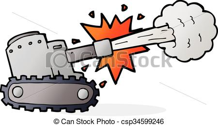 EPS Vector of cartoon firing tank csp34599246.