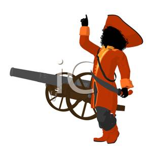 Pirate Captain Ordering a Firing of a Cannon Clipart Picture.