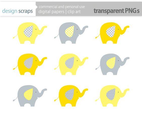 elephant clip art graphics, yellow elephant digital clipart baby.