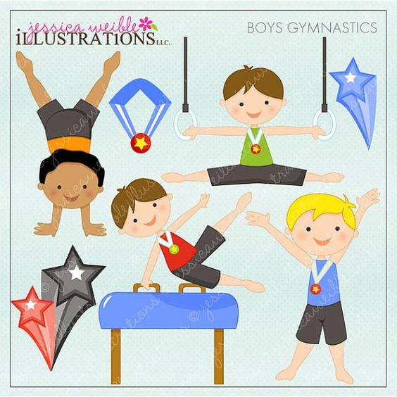 Boys Gymnastics Cute Digital Clipart for Card by JWIllustrations.
