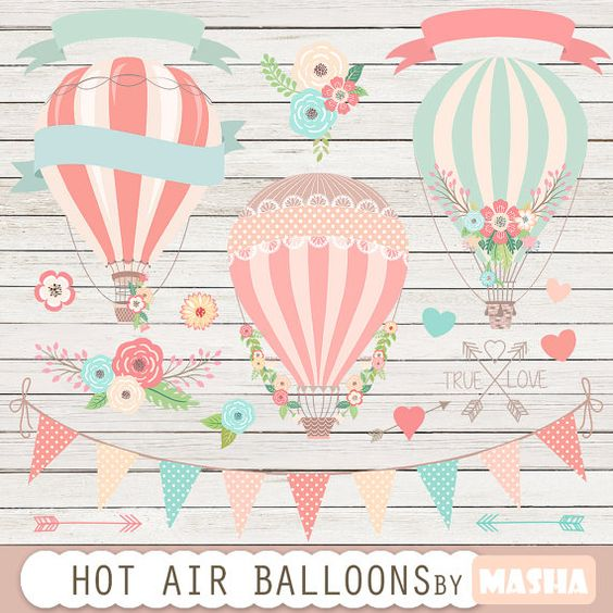 "Hot air balloons clip art: ""Hot Air Balloon Clipart"" for wedding."