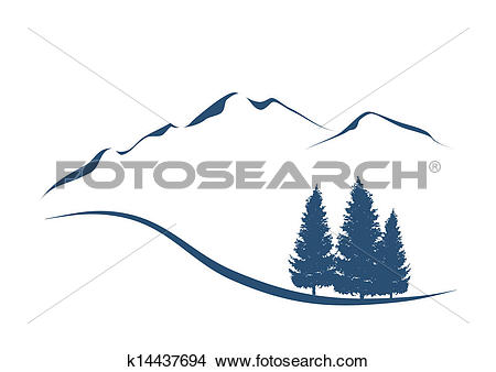 Clipart of stylized illustration showing an alpine Landscape with.