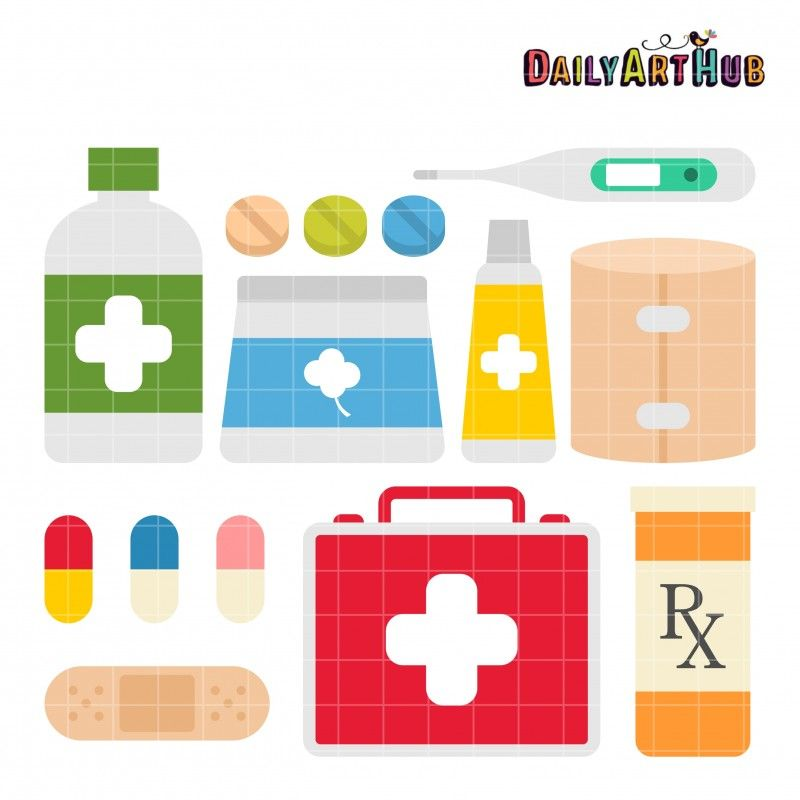 First Aid Kit Clip Art Set.