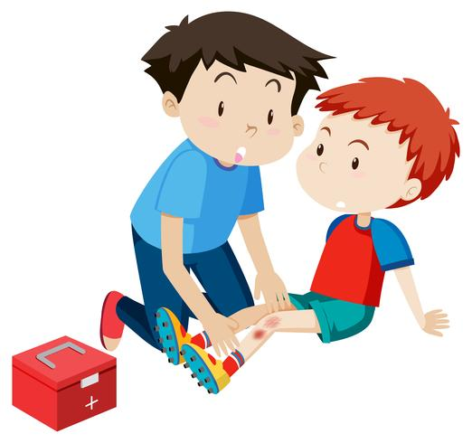 A man helping a boy first aid.