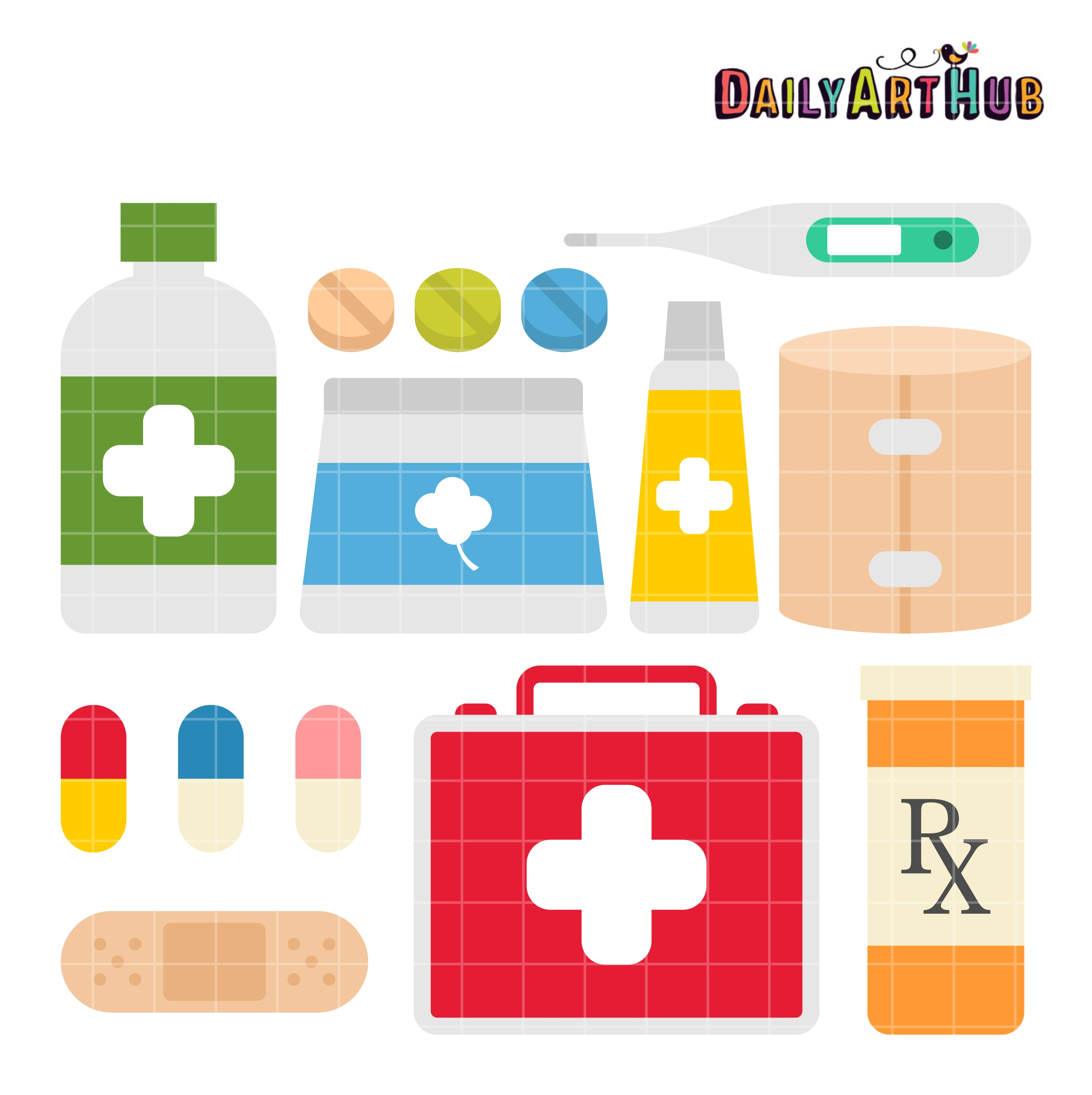 First aid kit contents clipart.