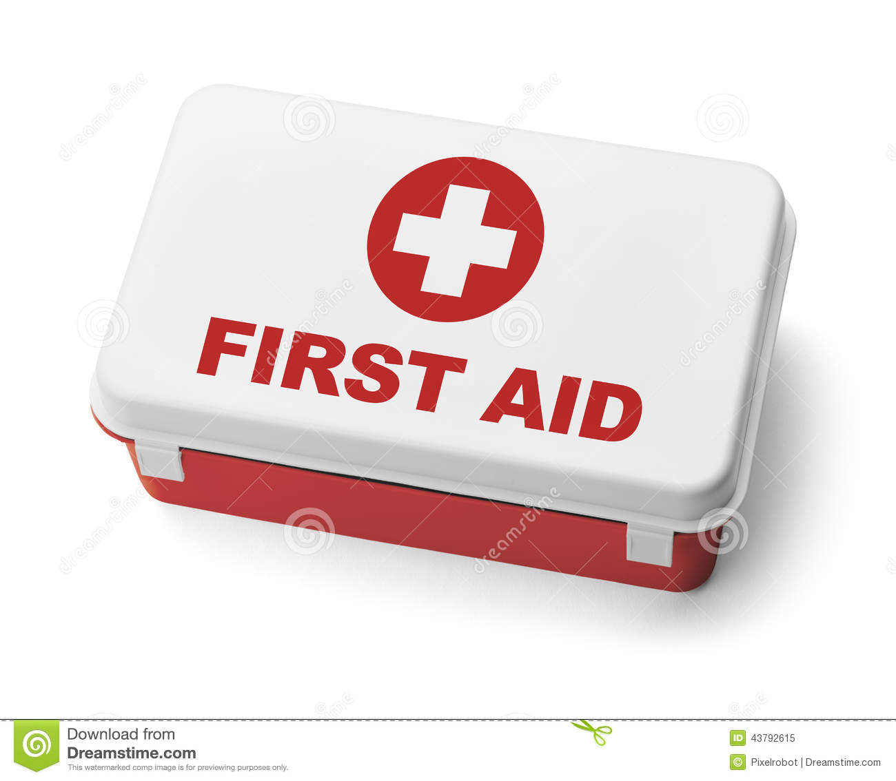 First Aid Kit Red Stock Photo.