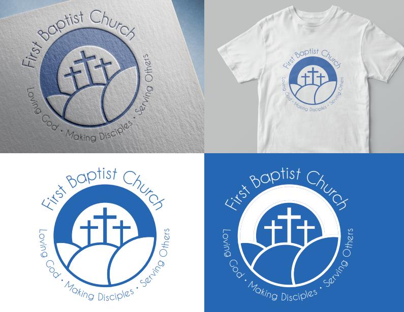 Logo Design for First Baptist Church. Loving God. Making.