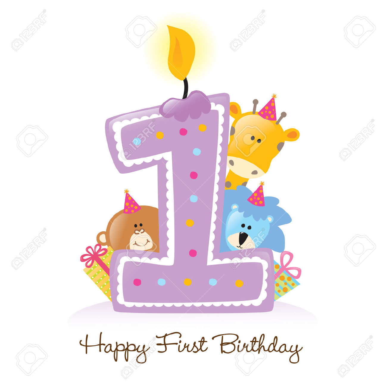 Free first birthday girl clipart.