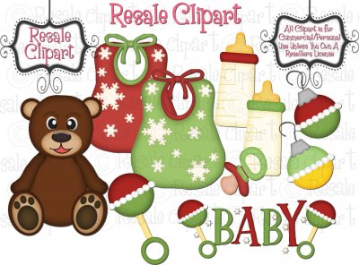Baby\'s First Christmas Clipart.