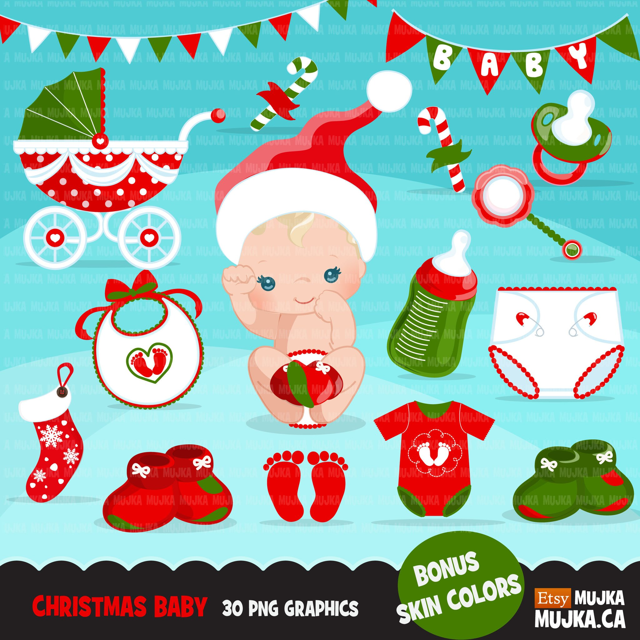 Baby\'s First Christmas Clipart, cute noel santa baby, diaper, baby shoes,  pacifier, bunting banner, bib, stroller graphics.