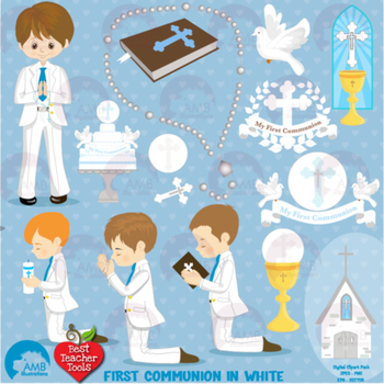 Christian Clipart, First Communion, Boys, Catholic clipart, Catechism,  AMB.
