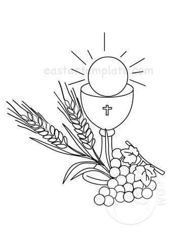 Chalice and Grapes First Communion clipart.