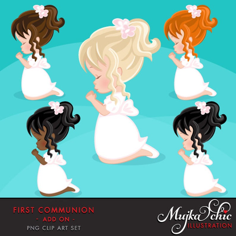 First Communion Clipart for Girls. Communion characters, graphics, praying  girls, holy. First Communion Graphics, religious illustrations.