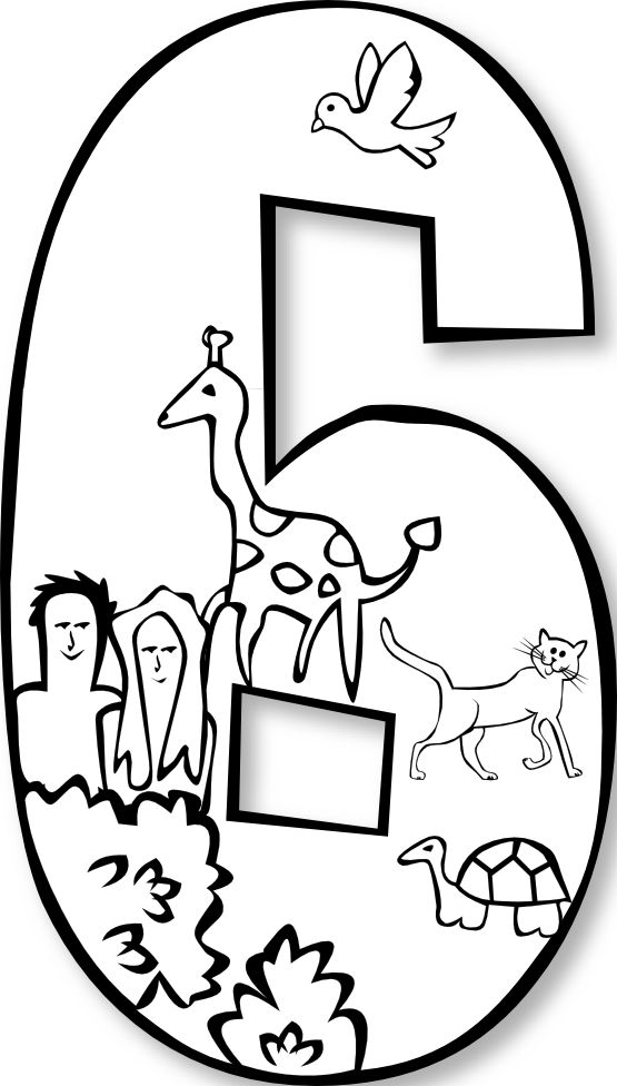 number 4 coloring sheets clipart black and white #14